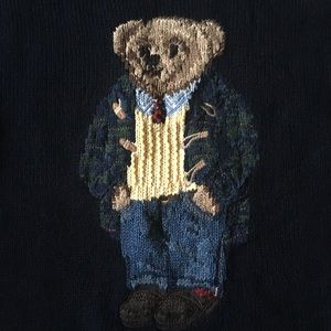 Ralph Lauren Navy Polo Bear Sweater Mens XL Tall